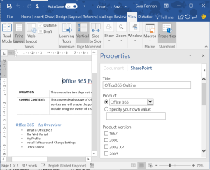 SharePoint Properties in Word