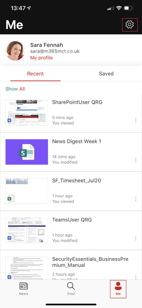 To illustrate the position of the referenced buttons this image shows the Me tab of the SharePoint Mobile app.  Me is located at the bottom right and the gear icon at the top right.