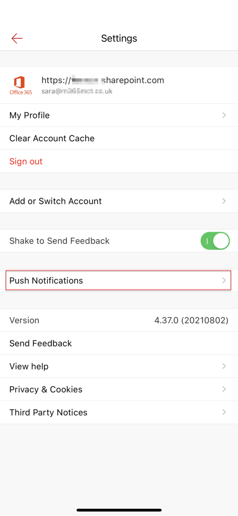 This illustration shows the settings page of the SharePoint mobile app and highlights the position on the page of the Push notifications option.