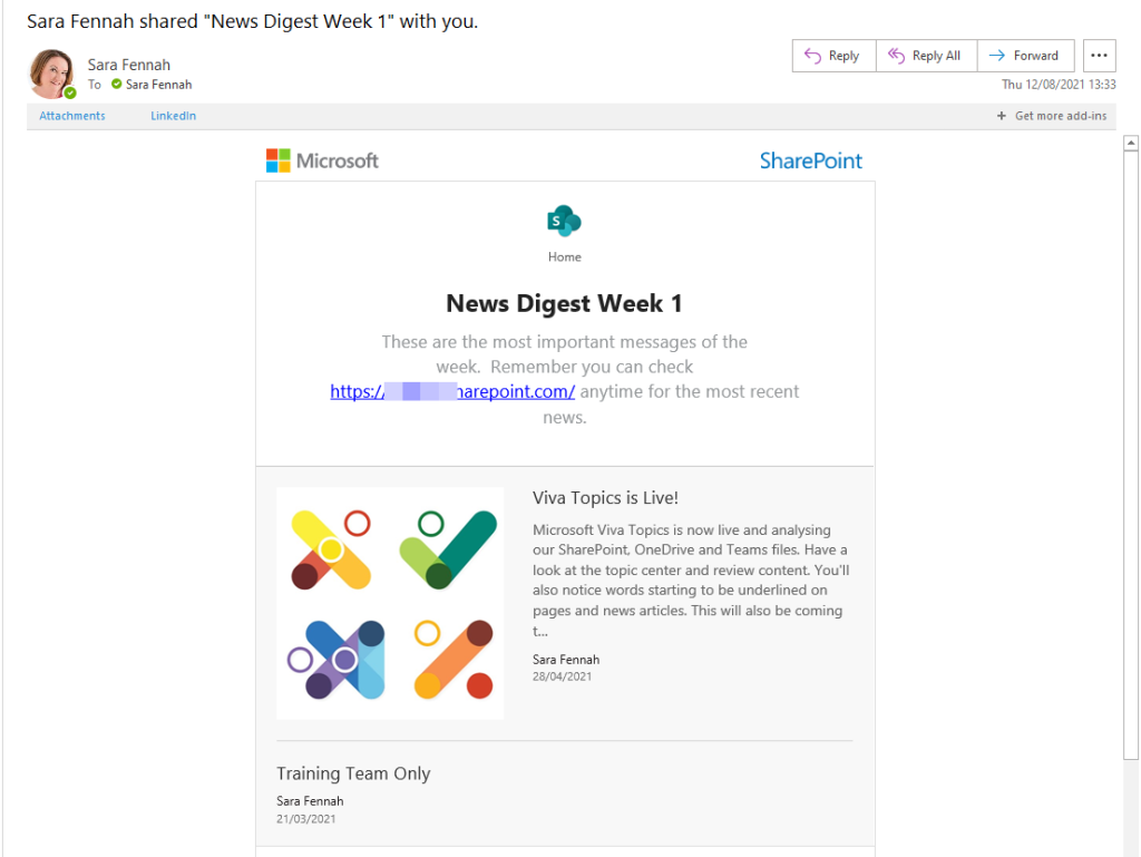 This image shows an example of news digest email to show the style of the email and to illustrate the content matches the digest composition.