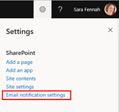 To illustrate the location of the options referenced this image shows the SharePoint gear icon menu with Email notification settings option highlighted