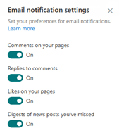 To reinforce the options for notifications this image shows the email notifications screen including options for notifications of comments on your pages, replies to comments, likes on your pages and digests of news posts you've missed.